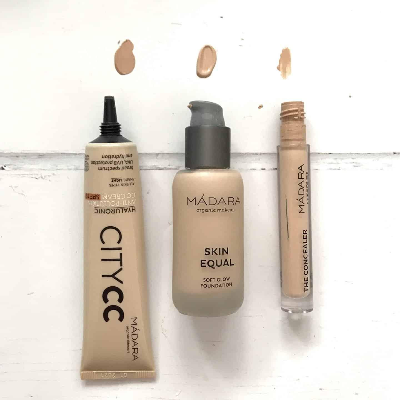 Madara CC Cream, Foundation and Concealer swatches