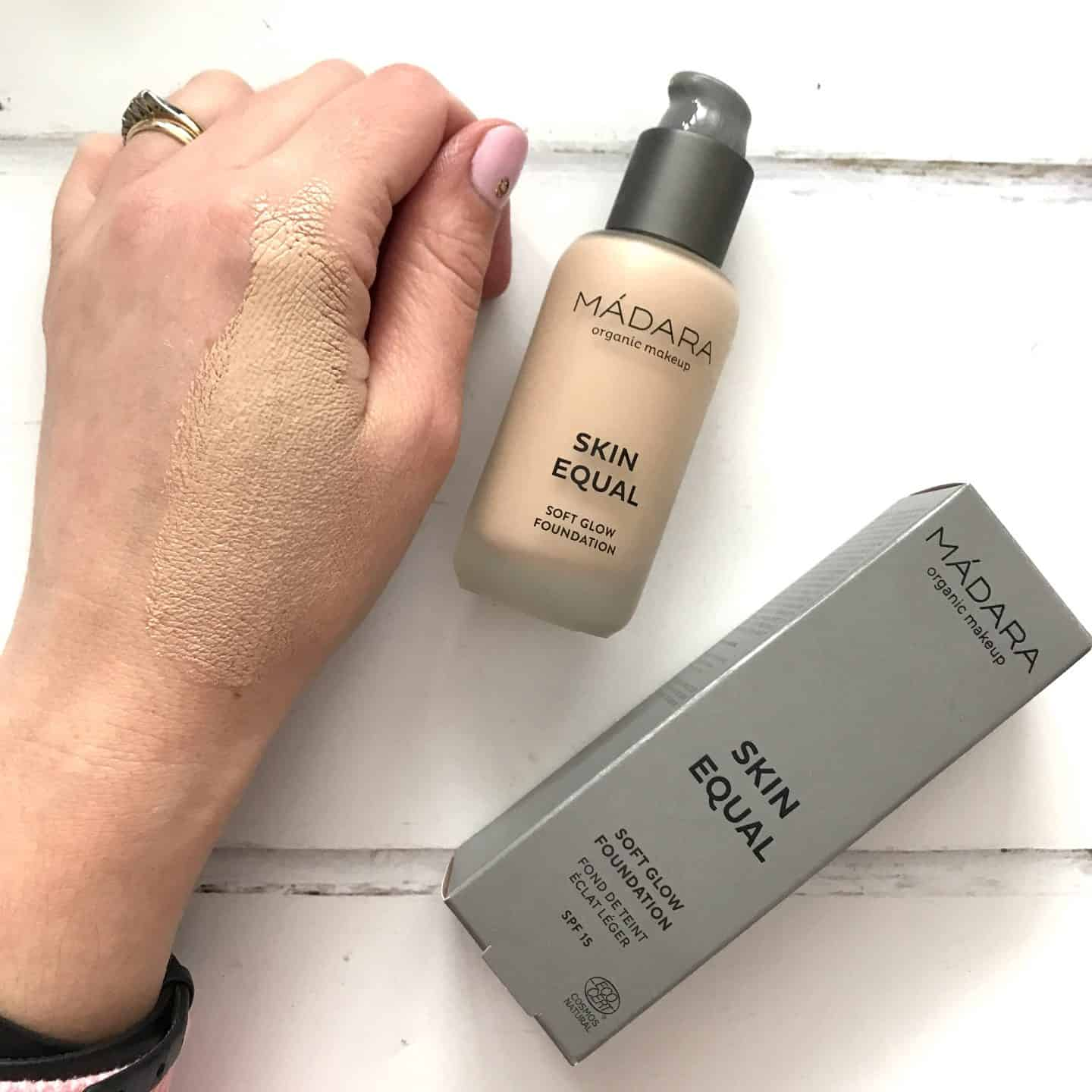 Madara Skin Equal Soft Glow Foundation SPF15 swatch on hand blended