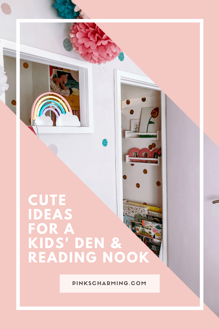 Cute ideas for a kids' den and reading nook, created in an underused wardrobe