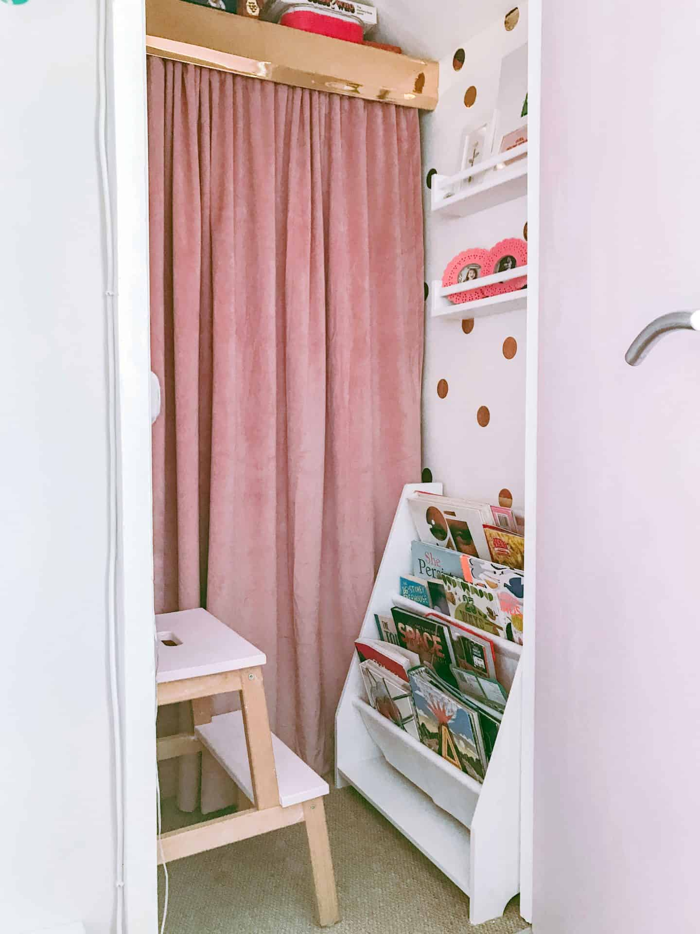 Through the door of our built in wardrobe transformed into a magical kids' den