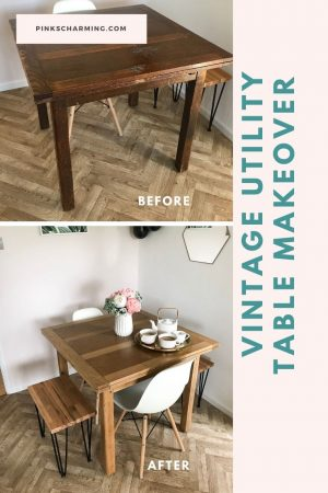 Vintage utility table makeover