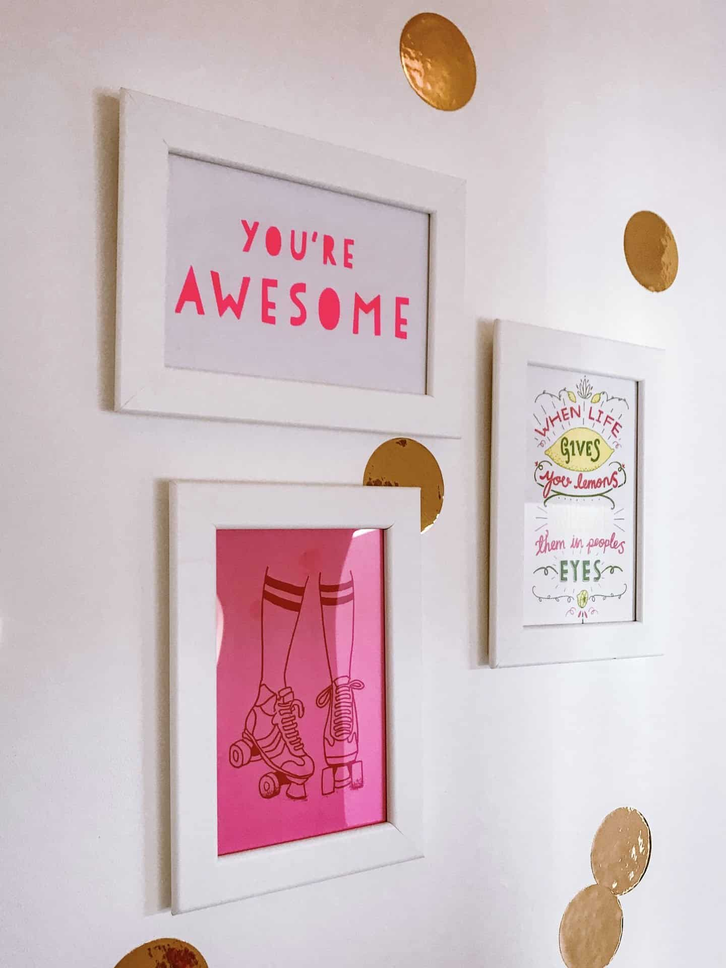 You're Awesome, Rollerskates and Lemon postcards in white frames